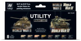 Vallejo 17ml Bottle Utility WWII & WWIII Wargames Paint Set (8 Colors)