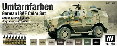 Vallejo German ISAF Model Air Paint Set (8 Colors) Hobby and Model Paint Set #71159