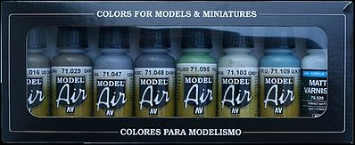 Vallejo WWII RAF Day Fighters Model Air Paint Set (8 Colors) Hobby and Model Paint #71162