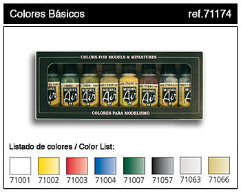 Vallejo Basic Model Air Paint Set (8 Colors) Hobby and Model Paint Set #71174