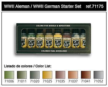 Vallejo WWII German Model Air Paint Set (8 Colors) Hobby and Model Paint Set #71175