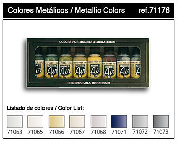Vallejo Metallics Model Air Paint Set (8 Colors) Hobby and Model Paint Set #71176