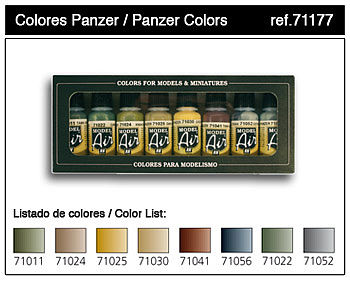 Vallejo Acrylic Paints Panzer Model Air Paint Set (8 Colors) -- Hobby and Model Paint Set -- #71177