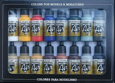 Vallejo Acrylic Paints Basic Model Air Paint Set (16 Colors) -- Hobby and Model Paint Set -- #71178
