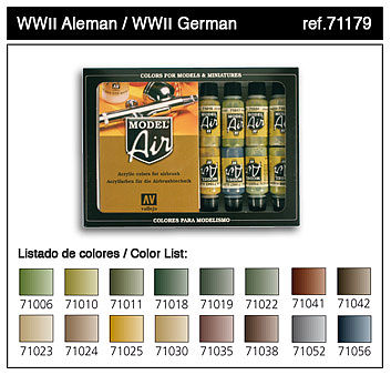 Vallejo WWII German Model Air Paint Set (16 Colors) Hobby and Model Paint Set #71179