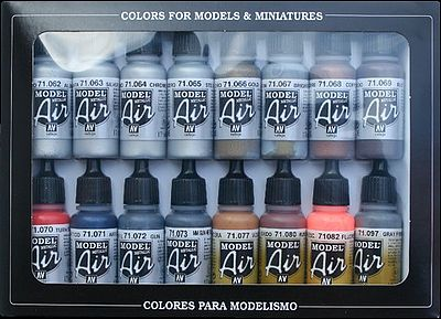 Vallejo Metallics Model Air Paint Set (16 Colors) Hobby and Model Paint Set #71181