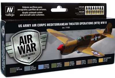 Vallejo US Army Air Corps Mediterranean Theater Operations Paint Set Model Air Paint Set #71183