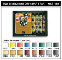 Vallejo WWII British Aircraft Model Air Paint Set (16 Colors) Hobby and Model Paint #71189