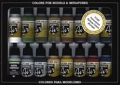 Vallejo RR EUROPE MODEL AIR (16 Colors) Hobby and Model Acrylic Paint #71191