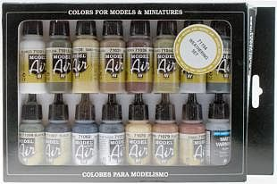 Vallejo Acrylic Paints Weathering Model Air Paint Set (16 Colors) -- Hobby and Model Paint Set -- #71194