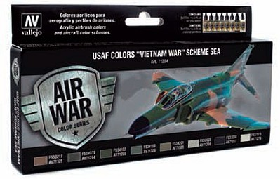 Vallejo USAF Vietnam War (South East Asia) Model Air Set (8 Colors 17ml) Hobby and Model Paint #71204