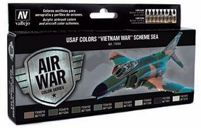 Vallejo 17ml Bottle USAF Vietnam War SEA (South East Asia) Model Air Paint Set (8 Colors)