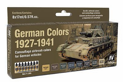 Vallejo 17ml Bottle German Vehicle Camouflage Colors (8 Colors) Hobby and Model Paint Set #71205