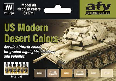 Vallejo 17ml Bottle US Modern Desert Colors Model Air Paint Set (6 Colors)