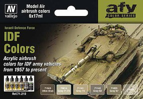 Vallejo 17ml Bottle IDF Vehicle Colors 1957-Present Model Air Paint Set (6 Colors)