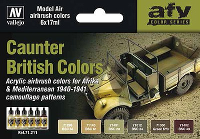 Vallejo Acrylic Paints 17ml Bottle British Caunter (Camo) Colors 1940-1941 Model Air Paint Set (6 Colors)