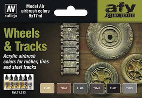 Vallejo 17ml Bottle Wheels & Tracks Model Air Paint Set (6 Colors)