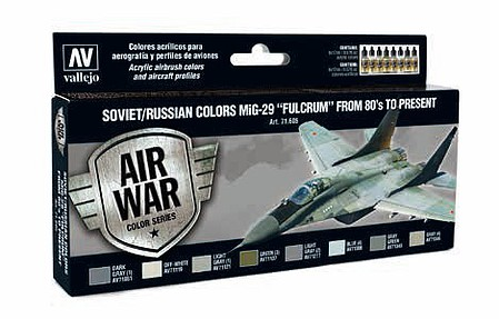 Vallejo 17ml Bottle Soviet/Russian Colors MiG29 Fulcrum from 80s to Present Model Air Paint Set (8 Colors)