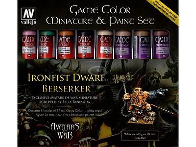 Vallejo Avatar/Ironfist Dwarf Berserker Metal Figure/Game Paint Set (8 Colors) Hobby Paint Set #72211