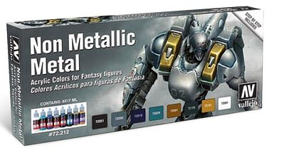 Vallejo Non Metallic Metal Game Color Paint Set (8 Colors) Hobby and Model Paint Set #72212