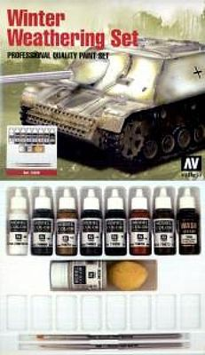 Vallejo Winter Weathering Pro Model Color Paint Set (9 Colors) Hobby and Model Paint Set #72220