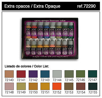 Vallejo Extra Opaques Game Color Paint Set (16 Colors) Hobby and Model Paint Set #72290