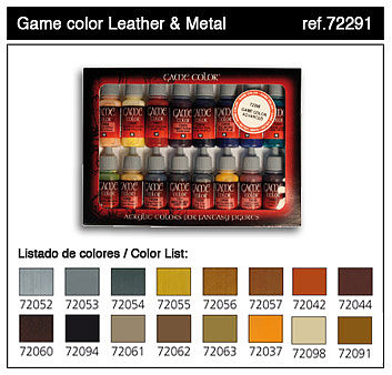Vallejo Leather & Metal Game Color Paint Set (16 Colors) Hobby and Model Paint #72291