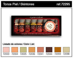 Vallejo Skin Tones Game Color Paint Set (8 Colors) Hobby and Model Paint Set #72295