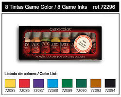 Vallejo Inks Game Color Paint Set (8 Colors) Hobby and Model Paint Set #72296