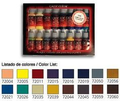 Vallejo Advanced Game Color Paint Set (16 Colors) Hobby and Model Paint Set #72298