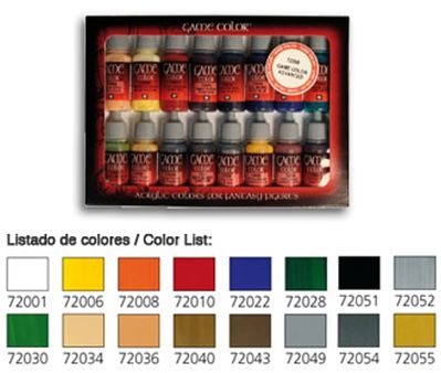 Vallejo Introduction Game Color Paint Set (16 Colors) Hobby and Model Paint Set #72299