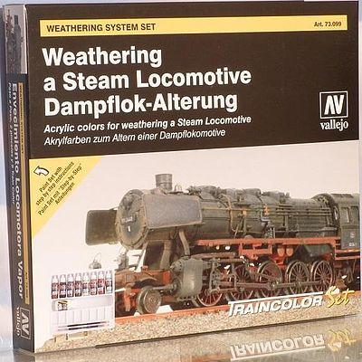 Vallejo Weathering Steam Locomotive Model Color Paint Set (9 Colors) Hobby and Model Paint Set #73099