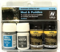 Vallejo 35ml/40ml Bottles Mud & Puddles Diorama Effect Paint Set (4 Different)