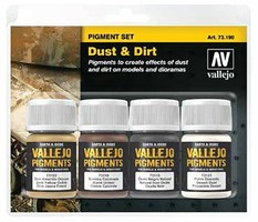 Vallejo 30ml Bottle Dust & Dirt Pigment Powder Set (4 Colors) Hobby and Model Paint Set #73190