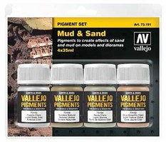 Vallejo 35ml Bottle Mud & Sand Pigment Powder Set (4 Colors) Hobby and Model Paint Set #73191