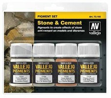 Vallejo 30ml Bottle Stone & Cement Pigment Powder Set (4 Colors) Hobby and Model Paint Set #73192