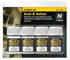 Vallejo 35ml Bottle Soot & Ashes Pigment Powder Set (4 Colors) (New Packaging) (Replaces #73199)