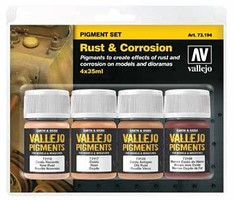 Vallejo 35ml Bottle Rust & Corrosion Pigment Powder Set (4 Colors)(New Packaging, Replaces #73196)