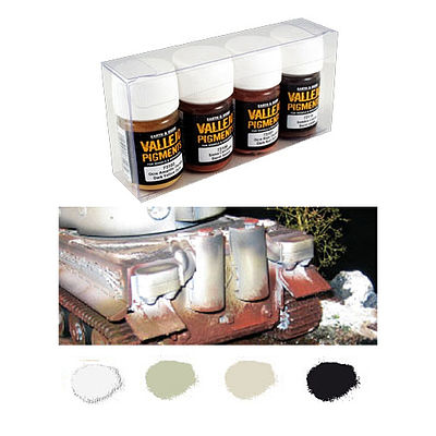 Vallejo Snow, Soot, Ash & Grime Pigment Powder Set (4 Colors) Hobby and Model P #73199