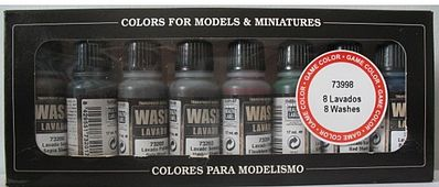 Vallejo Acrylic Paints Wash Set (8 Colors) 17ml Bottles -- Airbrush Accessory -- #73998