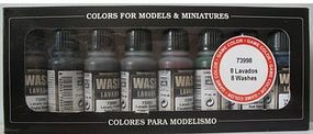 Vallejo Wash Set (8 Colors) 17ml Bottles Airbrush Accessory #73998