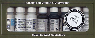 Vallejo Acrylic Paints Auxiliary Accessory Set (8) 17ml Bottles -- Airbrush Accessory -- #73999