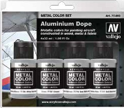 Vallejo Aircraft Aluminum Dope Metal Paint Set