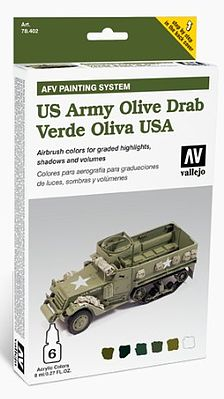Vallejo AFV US Army Olive Drab Paint Set (6 Colors) Hobby and Model Paint Set #78402