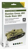 Vallejo AFV Russian Green 4BO Paint Set (6 Colors) Hobby and Model Paint Set #78403