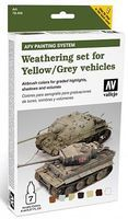 Vallejo AFV Yellow/Grey Vehicles Weathering Set (7 Colors) Hobby and Model Paint Set #78405