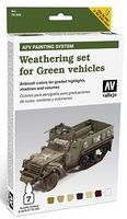 Vallejo AFV Green Vehicles Weathering Set (7 Colors) Hobby and Model Paint Set #78406