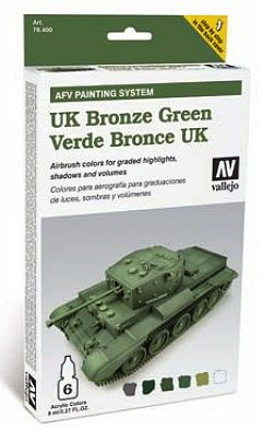 Vallejo UK Bronze Green Paint Set (6 Colors) Hobby and Model Paint Set #78407