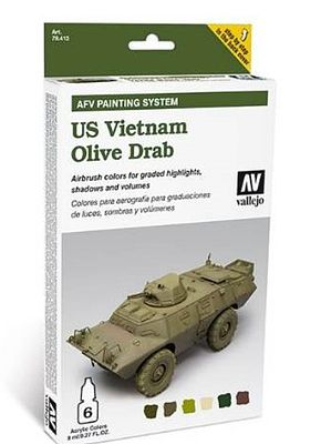 Vallejo US Vietnam Olive Drab AFV Paint Set (6 Colors) Hobby and Model Paint Set #78412