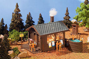 Vollmer Wood Sauna w/Hot Tub & Outhouse Kit HO Scale Model Railroad Building #45146